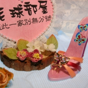 日系水晶鑽高跟鞋飾品(粉)
