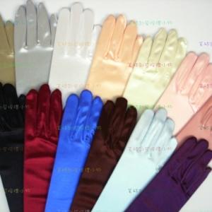 素色缎面长手套