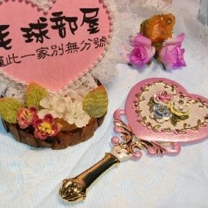 日系水晶钻迷你造形镜(粉)