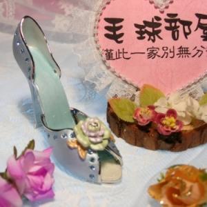日系水晶鑽高跟鞋飾品(藍)